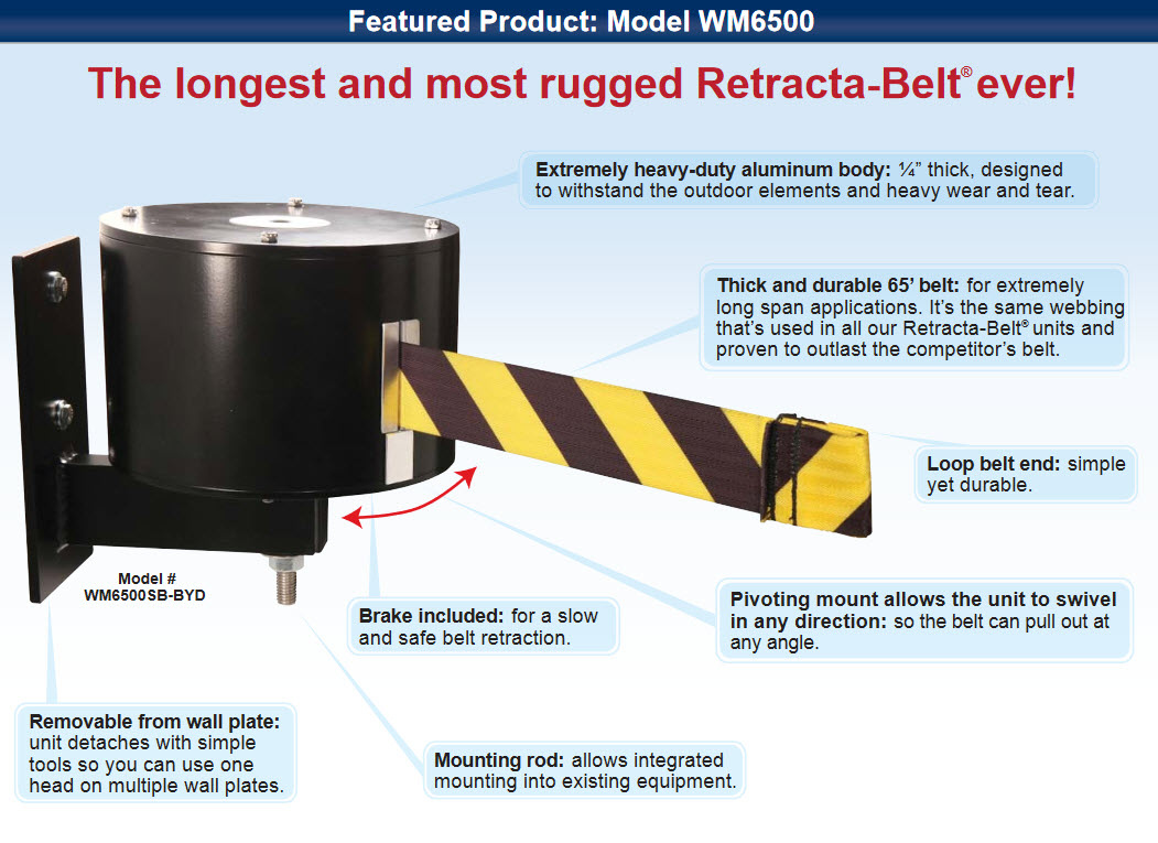 Maximum 65 Feet Retractable Belt Barriers