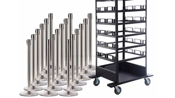 Set of 18 Retractable Belt Stanchions with Horizontal Storage Cart