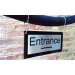 Hanging Velvet Rope Sign - Brass with Steel chain