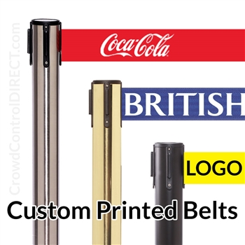 Premium Belt Barrier with 11' ft X 3 WIDE CUSTOM Printed Belt - SPECIAL